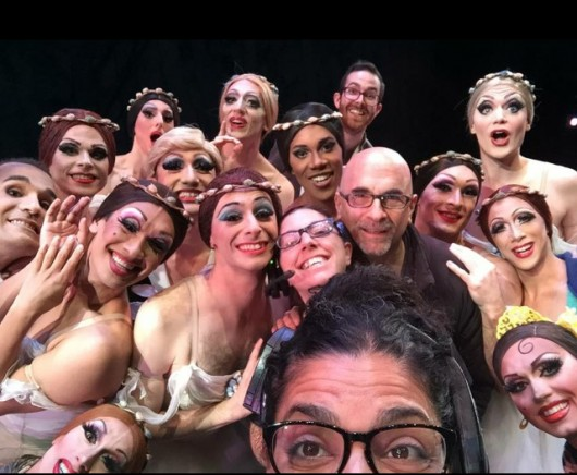 Most of the Trocks, along with our Artistic Director Tory Dobrin, Associate Director Isabel Martinez, and the Associate Production Manager Barbara Domue.  Guzella can be spotted in her red, ginger wing, in the top left corner.   Despite being born in the Ural Mountains, Guzella has Irish inside.
